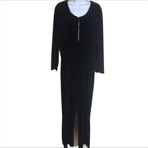 Newport News Black Velvet Jumpsuit